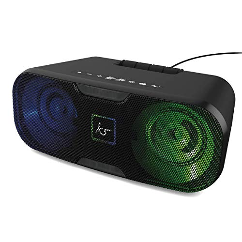 KitSound Slam XL Bluetooth Party Stereo Speaker System with LED Disco Light Show - Black