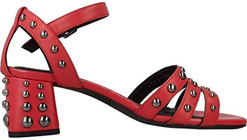 Geox seyla mid sandalo donna in pelle con borchie tacco 5 d92dua - 37 - scarlet