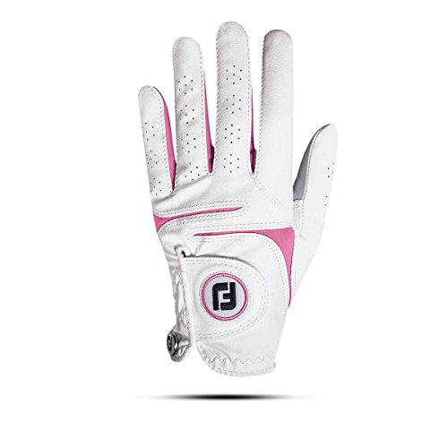 Footjoy WEATHERSOF Damen Golfhandschuh Linkshand (ML, Weiß/Pink)