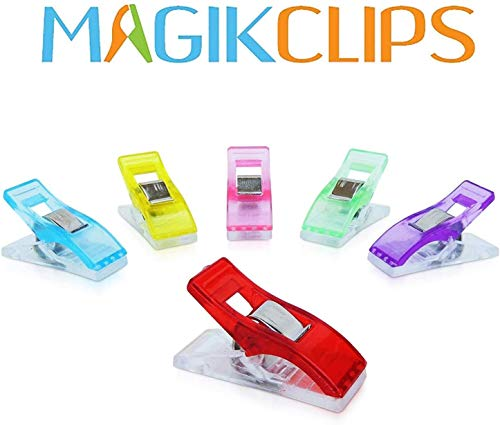 Magik Clips, Multicolored, 100 Pack- Sewing Clips for Quilting and Crafts