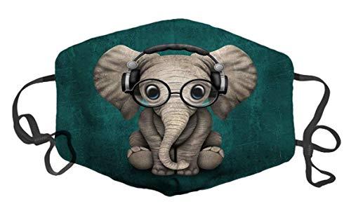 Netter Baby-Elefant-DJ, der Telefone trägt Mode Staubschutz Wiederverwendbarer Mundschutz Benutzerdefinierte Design-Gesichtsschutz