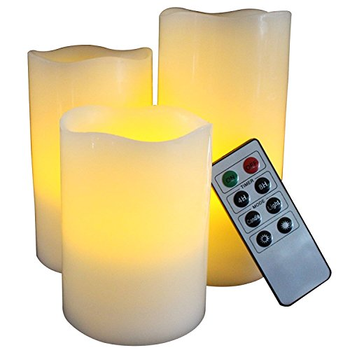 OxoxO 3PCS/Set 3' Flameless Candles Flicker Real Wax Pillar Built In LED Candles Battery Operated With 10-Key Remote Control Height 4' 5' 6'