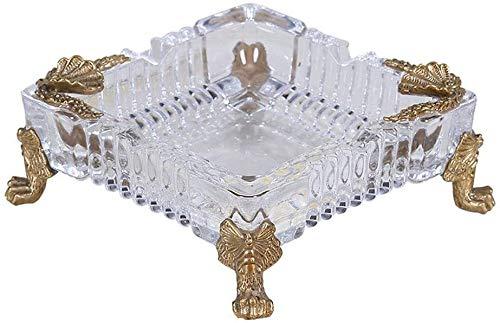 Samanth Praktischer Bastel-Aschenbecher Aschenbecherbehälter Pure Kupfer Aschenbecher Kristallglas Aschenbecher kann für Salonbürodekoration verwendet Werden (Size : 15x6cm)