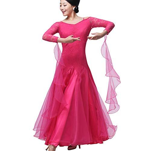 Vestidos de Baile de Salón para Mujeres Profesional Práctica de Disfraces de Baile Mangas de Encaje Escotado por detrás Moderno Vals Tango Ropa de Baile