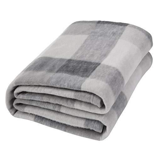 "Dreamscene Grey Plaid Check Fleece Blanket Super Soft Lightweight Cozy Sofa Bed Buffalo Throw, Silver - 50"" x 60"" inch"
