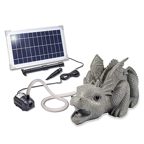 Solarbetriebener Wasserspeier Drache - inkl. Solar Teichpumpe 8 Watt 380 l/h - Maße ca. 330 x 220 x 200 mm - Wasserspiel für Gartenteich...