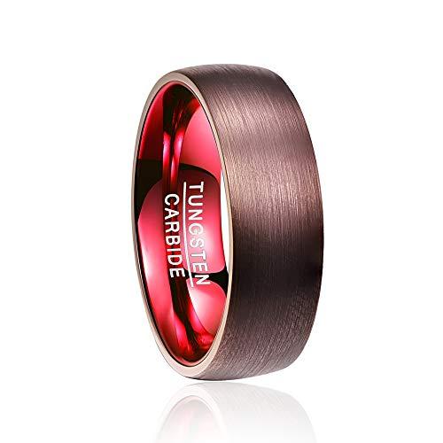 IWINO 8 mm wolfraamcarbide ring verguld bruin rode koepel wolfraam ring verlovingsfeest bruiloft merken heren ringen Comfort Fit