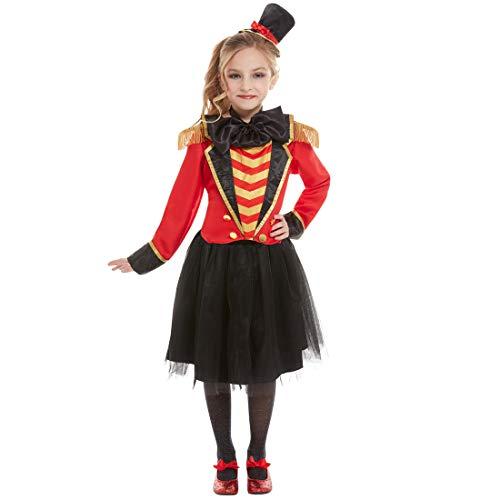 Amakando Elegante Disfraz de Circo domadora para niña/Negro-Rojo S, 4-6 años, 115-128 cm/Genial Uniforme de Circo domadora de Leones Festivales Infantiles y Fiestas temáticas