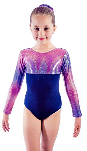Premier Gymwear - Maillot de Gimnasia para niña, 1 Holograma Brillante y Suave Terciopelo Azul Marino, Color Multicolor, tamaño 26 (5-6yrs)