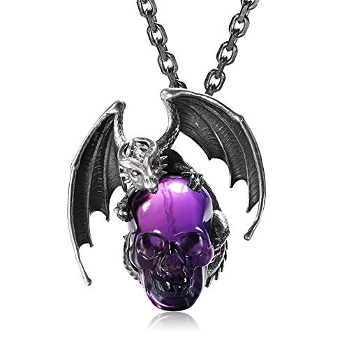 Skullis Necklace of Amethyst&925 Sterling Silver Carved Crystal Draon Skull Pendant with Sterling Silver Chain, for Men and Women, Skull Jewelry.1274