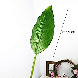 DETOAM 1pc Plastic Banana Leaves Large Artificial Tree Branch Fake Tropical Plant Palm Leaf Real Touch Foliage for Home Wedding Decor (Color : 85cm)