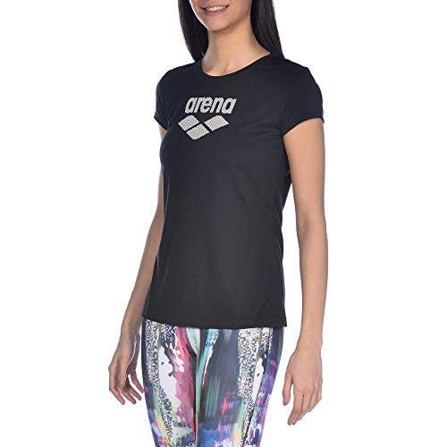 Arena W S/S Camiseta De Manga Corta Mujer Gym Logo, Black, S