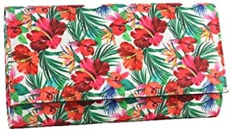 Women's Monclair Multi Print Fold-Down Clutch with Removable Cross-body Chain Strap