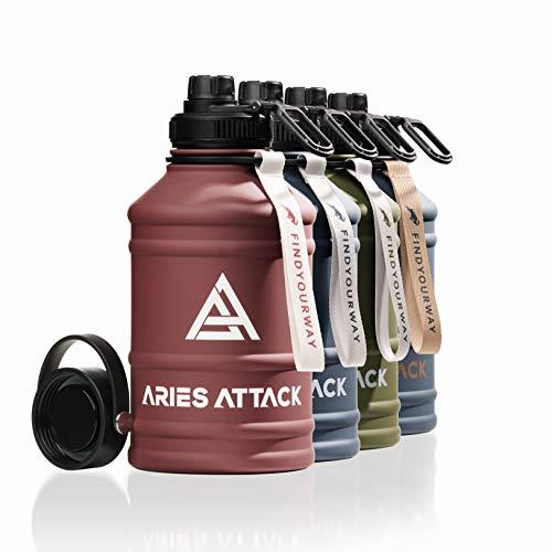 ARIES ATTACK Trinkflasche Edelstahl 2L I Water Jug mit 2 Verschlüssen I BPA Frei I Stabil und Auslaufsicher - 2.2 L Water Bottle für Fitness, Crossfit, Gym und Outdoor I Kohlensäure Geeignet