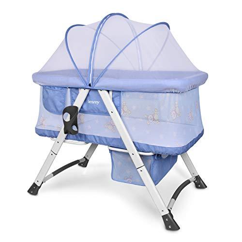 Besrey Stubenwagen und Reisebett. Es ist mit einer Matratze, Kissen und Moskitonetzen ausgestattet. Grau (Blau)