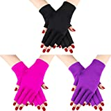 3 Pairs UV Shield Glove Gel Manicures Glove Anti UV Fingerless Gloves Protect Hands from UV Light Lamp Manicure Dryer (Black, Purple, Rose Red)