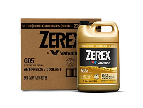 Zerex G05 Phosphate Free 50/50 Prediluted Ready-to-Use Antifreeze/Coolant 1 GA, Case of 6
