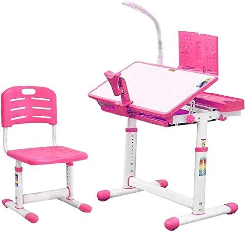 Tägliche Ausrüstung Kinder Schreibtisch und Stuhl Set Kinder Studiertisch Kippen Student Tisch Lampe Bücherständer Schublade Lagerung Tilt Desktop Kinder Kinder Zeichentisch Kinder Schreibtisch und