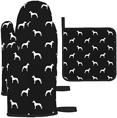 Great Dane Silhouette Dog Black Oven 3Pcs Ranking TOP12 Pot Ranking TOP3 and Holders Mitts