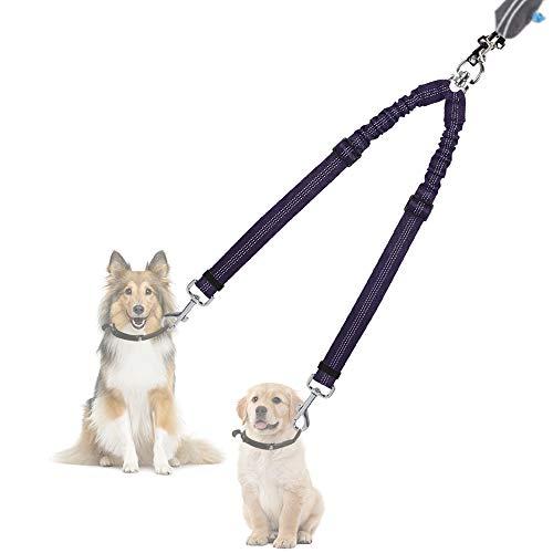Nasjac Correa Doble para Perros, sin enredos Divisor Doble de Cables Rotación giratoria de 360 ° Reflectante Longitud Ajustable Acoplador para Dos Perros
