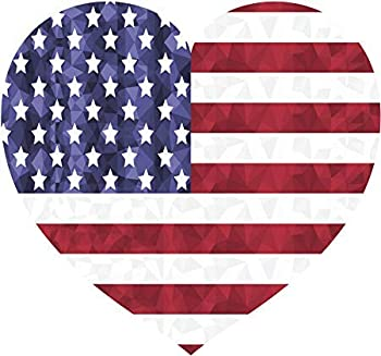 Heart-Shaped Patriotic Red White Blue American Flag Symbol Vinyl Decal Sticker 5