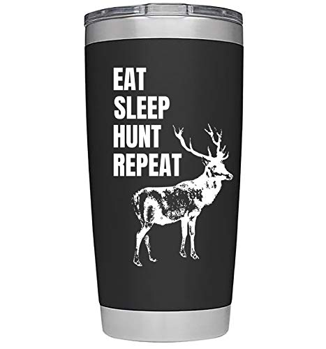 Hunting Gifts for Men | Hunting Stuff | Large 20 Ounce Steel Hot/Cold Travel Hunting Tumbler/Mug w Lid Coffee Cup | Hunting Decor Dad | Deer Hunting Hunters Gifts for Men or Women