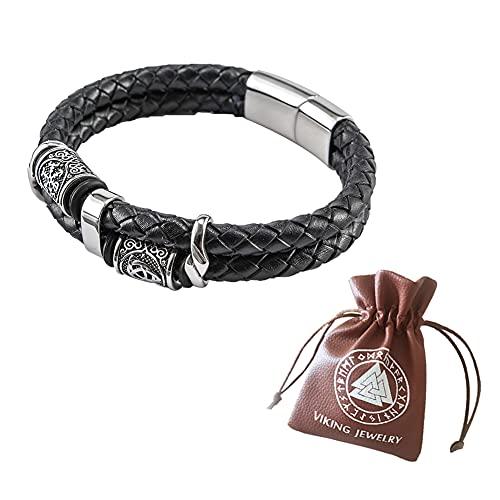 C2Jew Vegivisir-Armband aus Edelstahl Lederarmband Manschette Amulett Schmuck Nordischer Wikinger Kompass Runen Armreif