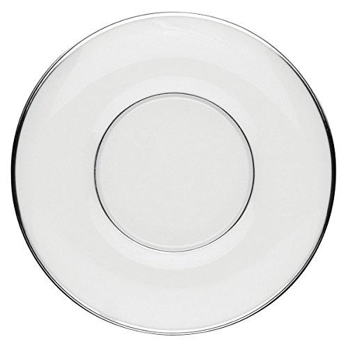 DEGRENNE - Galon platine lot de 6 soucoupes tasses déjeuner, porcelaine de Limoges - Blanc