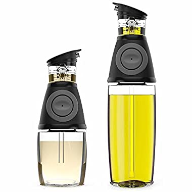 Oil and Vinegar Dispenser Set with Drip-Free Spouts - Olive Oil Dispenser Bottle for Kitchen - 2 Pack Includes 500ml [17oz] and 250ml [9oz] Sized Bottles