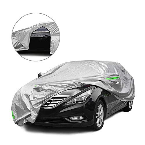 Tecoom Light Shell Waterproof UV-Proof Windproof Design Car Cover with Zipper Storage and Lock for All Weather Indoor Outdoor Fit 160-172 Inches Hatchback