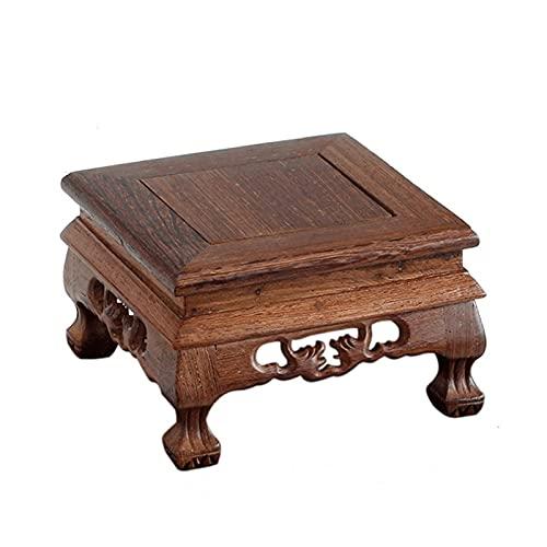 Pedestal con base de madera para jarrones Soporte de exhibición de madera maciza de palisandro, soporte de exhibición de adornos base de madera Pedestal de forma cuadrada con diseño de dragón tallado,