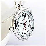 KSW_KKW Cadena de Bolsillo for Mujer Enfermera Clip Reloj de la Historieta de la Enfermera del Reloj de Bolsillo Reloj de Cuarzo Reloj Colgante Broche Colgante Reloj de Bolsillo médico (Color: Blanco