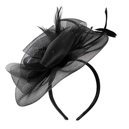 Morran Tocado de Flores y Plumas Fascinator de Sombrero, se Ajusta con Peine Transparente Moda para Fiesta Boda Flores Plumas Headwear