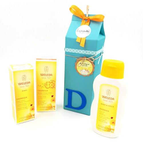 Cadeau très utile et original pour les bébés avec des produits BIO 100% naturels   À lait avec trois crèmes de la gamme BIO Calendula   Idée de cadeau de douche de bébé   Ton bleu