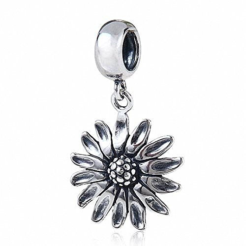 Fits pandora charms bracelet SoulBeads Dangle Sunflower 925 Sterling Silver Charm Bead Compatible with Snake Chain Bracelets by