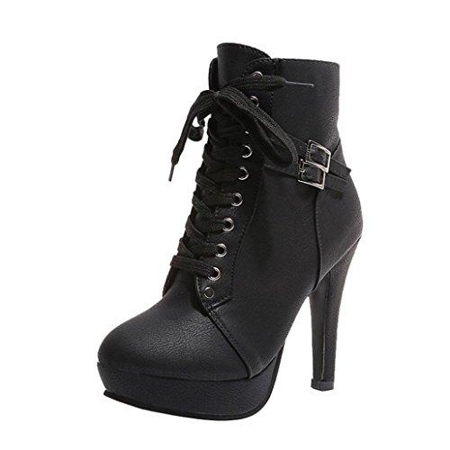 Soldes Chaussures Plateforme Bottines à Lacets en Cuir...