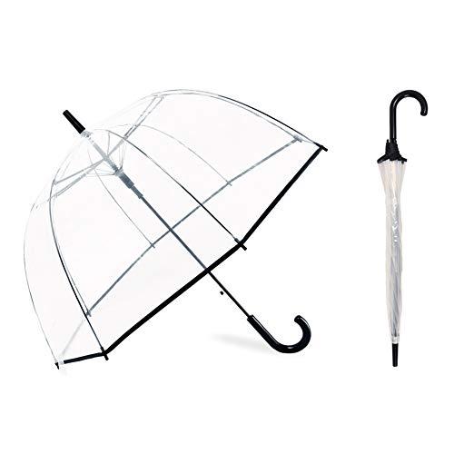 NOSUN Transparente Regenschirmblase Transparenter Regenschirm Halbautomatisch für Erwachsene, sowohl Männer als auch Frauen, können romantische und süße Flitterwochen im Freien genießen (schwarz)