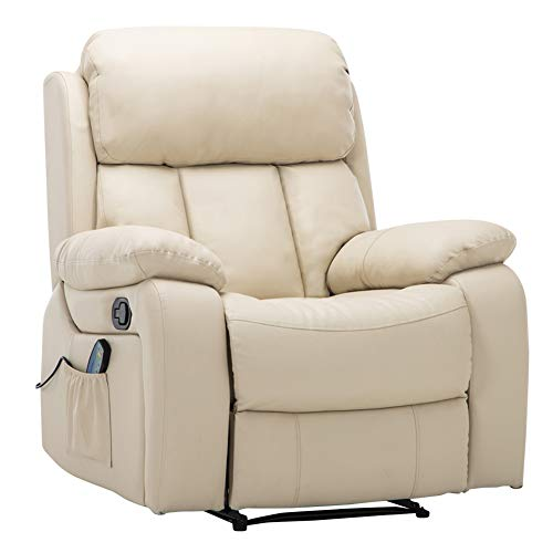 Warmiehomy Bonded Leather Recliner Chair with Massage and Heat Armchair Sofa Reclining Chair for Living Room (Cream)