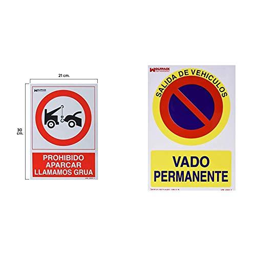 Wolfpack 15050560 Cartel Prohibido Aparcar Llamamos Grúa, 30 X 21 Cm + 15050565...