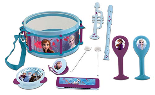 Lexibook Disney Frozen 2 Elsa Anna Giocattolo Musicale, Set Di 7 Strumenti Musicali (Tamburo, Maracas, Castanet, Armonica, Flauto Dolce, Tromba, Tamburello), Blu / Viola