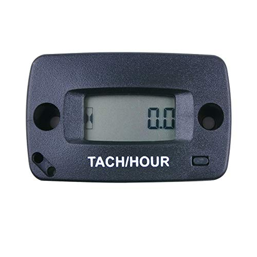 ZHELIOSMX Digital Waterproof Inductive Maintenance Gasoline Engine RPM Hour Meter Tachometer Used for Motorcycle ATV Marine Boat Generator Chainsaw Glider Outboard Lawn Mower