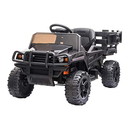 JOYMOR Ride on Truck with Trailer, 2.4G Remote Control 12v Power Wheel Kids Toddler Motorized Vehicles Toy Car w/ 2 Speed, Music, LED Lights and Realistic Horn (Black)