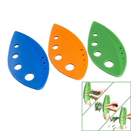 Leaf Herb Stripper, BPA-Free Plastic Holes Vegetable Leaf Separator Stripping Tool for Chard,Collard Greens,Kale,Basil,Leafy Green,Rosemary Herb and More,Kitchen Gadgets,3 Pcs Assorted Color