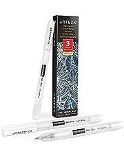 Arteza vit gelpenna set, paket med 3, vita gelpennor för konstdesigner med 0,6 mm, 0,8 mm och 1,00 mm nålar, vita bläckpennor för skrivning, ritning, anteckningar och skissning