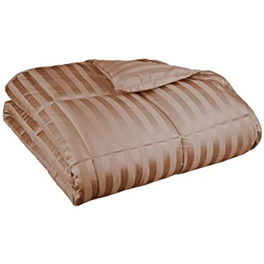 All Season Wide Stripes Down Alternative Comforter, King, Taupe