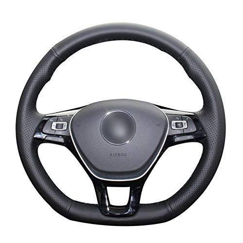 YHDNCG Funda de Volante de Cuero Artificial PU Negro, para Volkswagen Golf 7 (VII) Golf Sportsvan (S