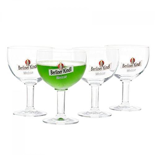 Ritzenhoff 4er Set Berliner Kindl Weisse Gläser 300 ml | Bierglas Pokal mit Eichstrich bei 0,3L | edle Biertulpe auf hohem Fuß