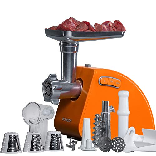 Oursson - Picadora eléctrica multifunción, accesorios: Picadora de carne y verduras, hacer salchichas, kébbe y zumo de tomate, acero inoxidable, 1500 W, homologado por CE (naranja)