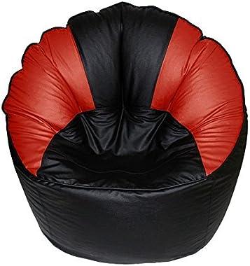 KJ Bean Bag Original XXXL Sofa Mudda Cover Red & Black Color (Without Beans)