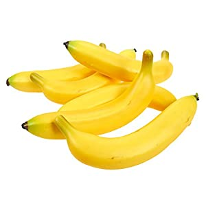 Juvale Set of 6 Individual Fake Fruit Bananas – Artificial Fruit Plastic Bananas for Still Life Paintings, Storefront Decoration, Kitchen Decor, Yellow, 8 x 3.7 x 1.5 Inches